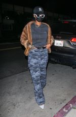 Rihanna Cuts a casual figure as she and her friend are spotted arriving for a late night dinner at Giorgio Baldi in Santa Monica