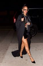 Rihanna Shows off her legs in tiny black skirt as she heads to dinner at Giorgio Baldi in Los Angeles