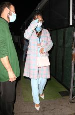 Rihanna Stuns in baby blue and pink ensemble as she steps out to dinner at Giorgio Baldi in Santa Monica