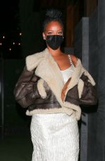 Rihanna Was seen leaving Nobu restaurant in West Hollywood after dinner in white dress and boots