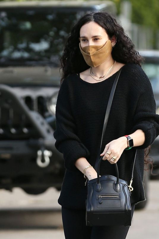 Rumer Willis Looks sexy and trim while donning black leggings and a super cute black sweater near her home in Los Angeles