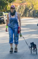 Sarah Silverman Chats with a man at the dog park while she takes her dog for a walk near her home in Los Feliz