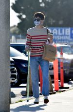 Selma Blair Cuts a casual figure in jeans and a striped sweater as she goes shopping at the Malibu Pier