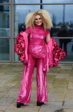 Tallia Storm Looking very bright and colourful in pink as she leaves Saturday Mash Up at Media City in Salford