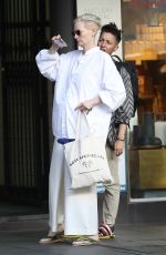 Tilda Swinton Goes for her more usual style on a visit to the hair salon in Sydney