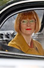 Tilda Swinton Looks unrecognisable with her short bob cut hair whilst sitting in a rather vintage black taxi in Sydney