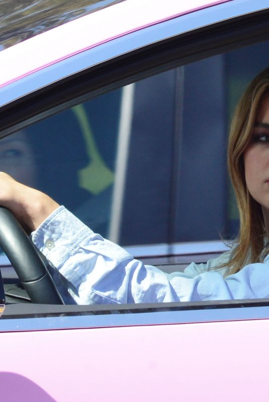 Addison Rae Spotted in her pink Tesla as she drives through the streets of Beverly Hills