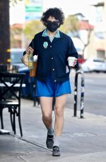 Alia Shawkat Goes for an au natural look as she steps out in shorts while on a coffee run