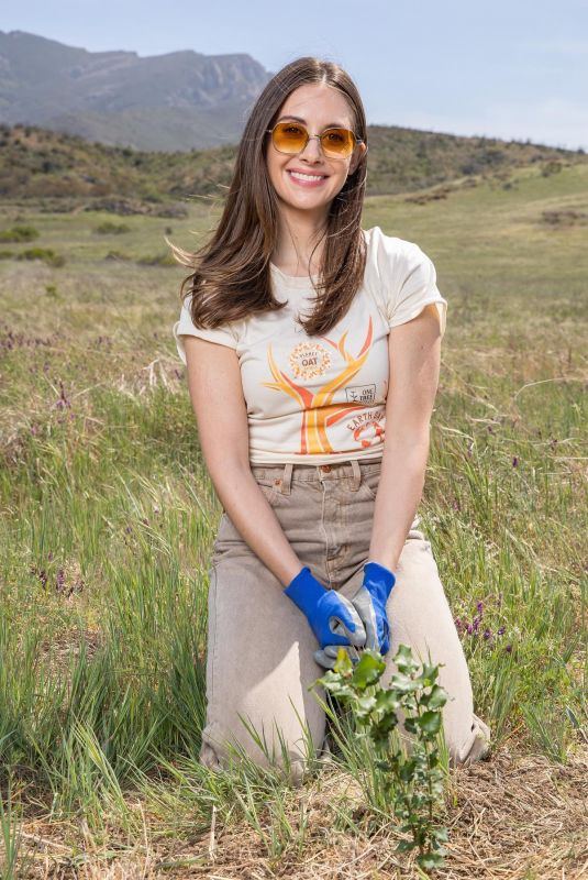 Alison Brie Planting a tree in Malibu for The Planet Oat Project in honor of Earth Day