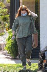 Alyson Hannigan Runs her hands through her freshly pampered hair after visiting a salon this morning in Beverly Hills
