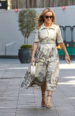 Amanda Holden Looks chic in a belted dress at Heart Radio Studios in London