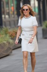Amanda Holden Looks chic in a white mini dress at Heart radio in London