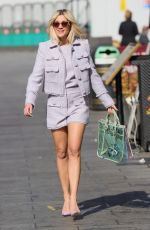 Ashley Roberts Looks chic in lilac shorts and matching top at Heart Radio Studios in London