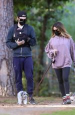 Ashley Tisdale and Christopher French take a walk with their baby girl and two dogs in Los Feliz