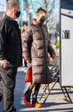 Bella Hadid Spotted on set for a photoshoot for Michael Kors FW/21 in New York