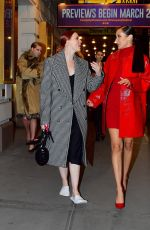 Bella Hadid Steps out with a model friend after walking the Michale Kors Fashion show at Times Square in New York