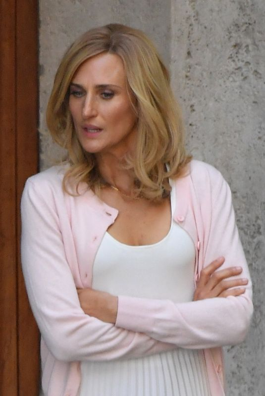 "Camille Cottin On the set of the new Ridley Scott movie ""The House of Gucci"" out in Rome, Italy"