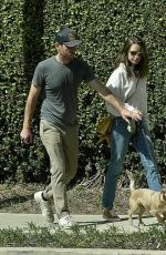 Charlie McDowell & Lily Collins spotted on a walk in their neighborhood in Los Angeles