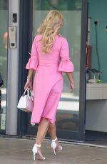 Christine McGuinness All smiles as she arrives at Stephs Packed Lunch TV Show in Leeds