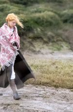 Claire Danes Wearing a Victorian costume dress was spotted looking cold, filming
