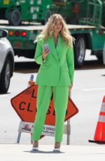 Elsa Hosk Looking fabulous in a green pantsuit while out in Los Angeles