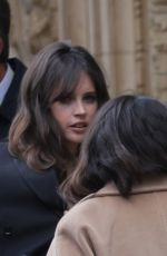 Felicity Jones Celebrities seen arriving and departing at the Royal Albert Hall for the 74th British Academy Film Awards in London