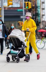 Gigi Hadid Grabs coffee to go with her baby Khai in New York
