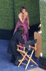 Halle Berry Gets a touch-up on her make-up at the 93rd Annual Academy Awards at Union Station in Los Angeles