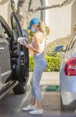 Hayley Roberts Hasselhoff was seen displaying her pert derriere as she jumped into her vehicle in Calabasas