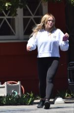 Hilary Duff Stops at a fruit stand while running errands in Studio City