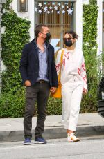 Jordana Brewster and her beau Mason Morfit are seen out for their morning coffee routine at Caffe Luxxe in Brentwood