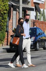 Jordana Brewster Grabs coffee at Cafe Luxe with her boyfriend in Brentwood