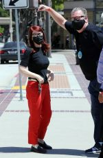 Kate Flannery Drops off food for her husband Chris Haston at AGT