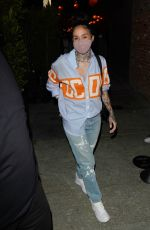 Kehlani Rocks a cool Gucci shirt as she goes out with friends to dinner at TAO Asian restaurant in Beverly Hills