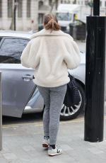 Kelly Brook Wears casual at Heart Radio Studios in London