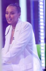 Maya Jama Looks sensational in a white trouser suit for the BBC One Show appearance