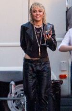 Miley Cyrus Sips on some wine after a photo shoot at a studio in Burbank