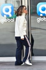 Myleene Klass Dresses down in tracksuit bottoms at Heart radio in London