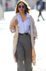 Myleene Klass Looks chic in striped shirt and her designer Gucci belt at the Smooth Radio Studios in London