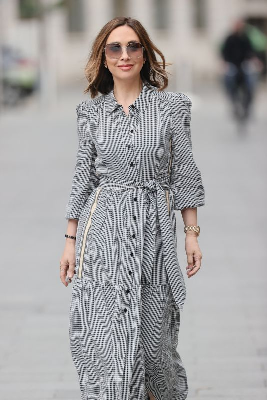 Myleene Klass Looks sensational in a beautiful checked dress for her appearance on Smooth radio in London