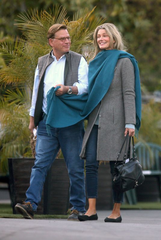 Paulina Porizkova And Aaron Sorkin look smitten as they meet up for a diner date in Los Angeles