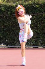 Phoebe Price Stretches and hits a few tennis balls at the courts in Los Angeles