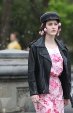 Rachel Brosnahan Seen on the set of the Marvelous Mrs. Maisel at Washington Square Park in New York City