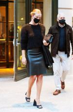 Rosie Huntington-Whiteley Heads out in a black leather skirt in New York