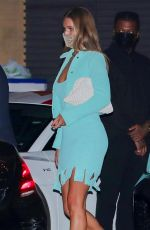 Rosie Huntington-Whiteley In a blue outfit as she enjoys dinner with Jason Statham at Nobu in Malibu