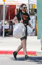 Rumer Willis Does some weekend shopping for hummus at the farmers market in West Hollywood