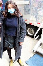 Selena Gomez Arrives on film set at West End area in New York City