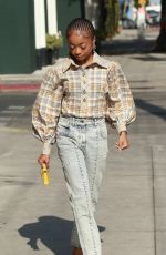 Skai Jackson Looks chic in her Louis Vuitton ensemble while spot it on Melrose Street in West Hollywood