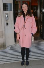 Sophie Ellis Bextor Looks chic in a pink coat and faux fur collars