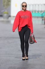 Vogue Williams Looks hot in black leggings and red top at Heart radio in London